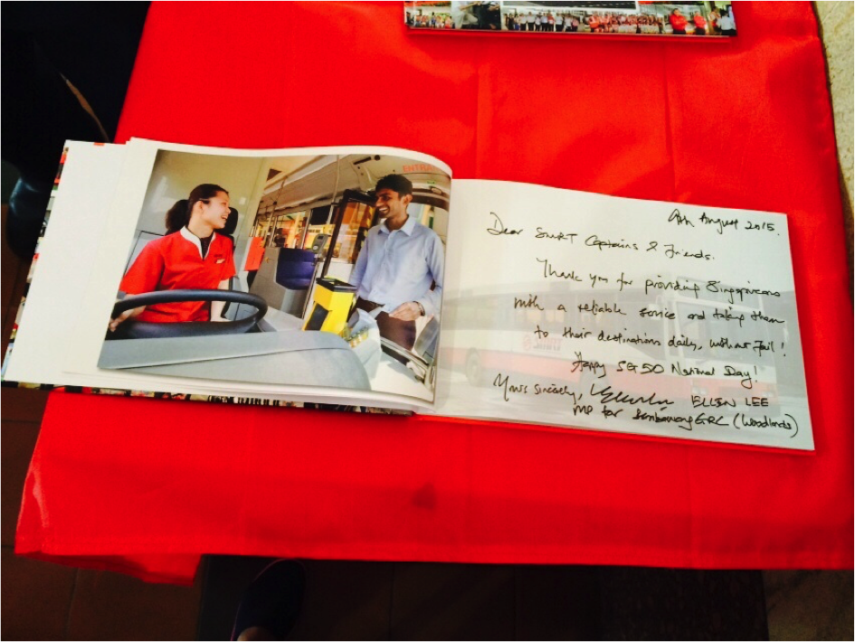 SMRT Buses welcomes all guests to sign in the SG50 Guestbook