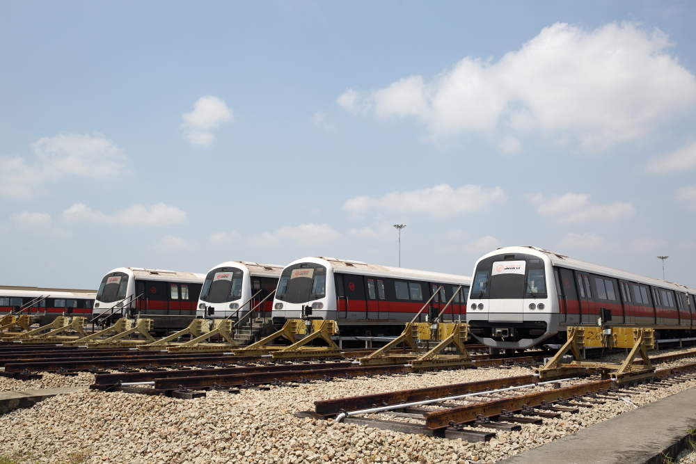 SMRT trains in depot