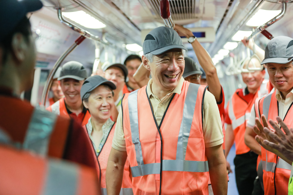 PM Lee inspects are refurbished train