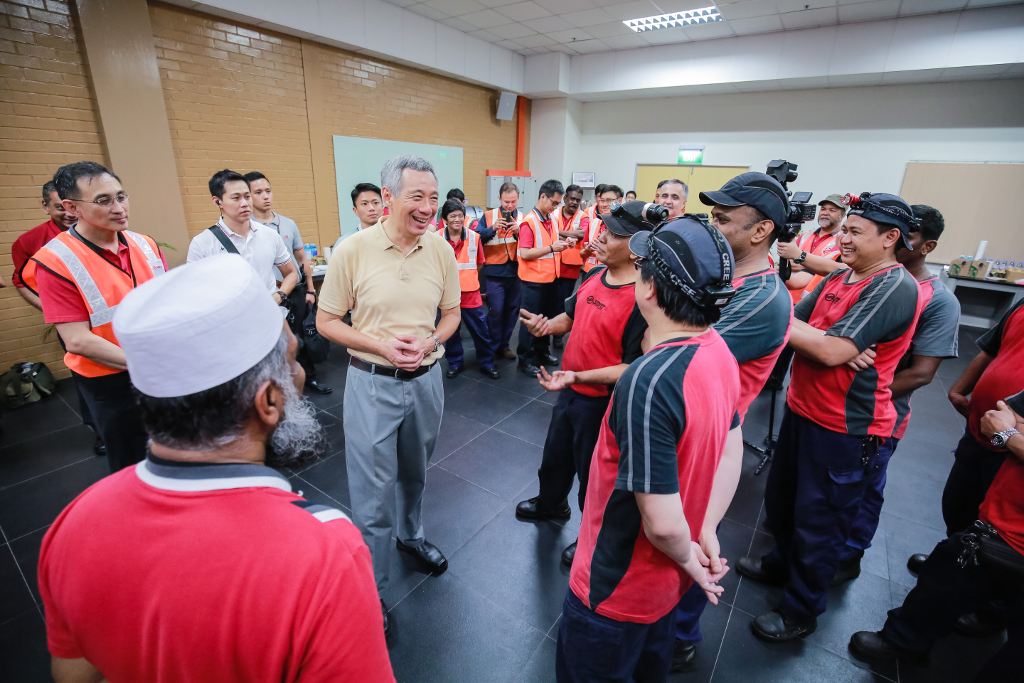 PM Lee speaks to the staff