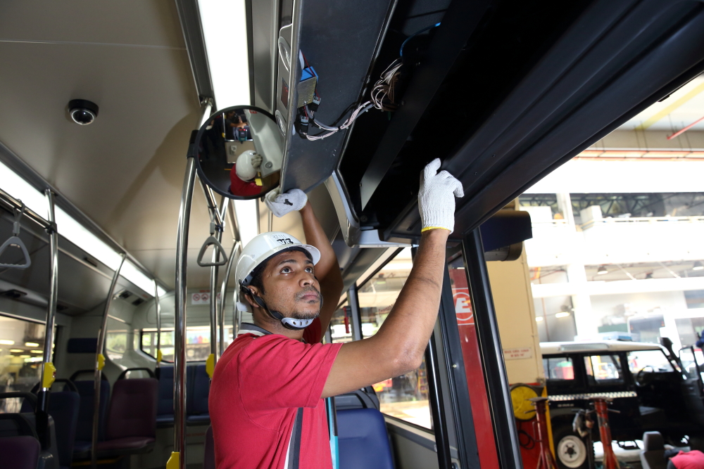 Electrical works include checks on the photocell sensors at the doors of the bus, as well as the on board equipment like the bus fare console and electronic destination sign.