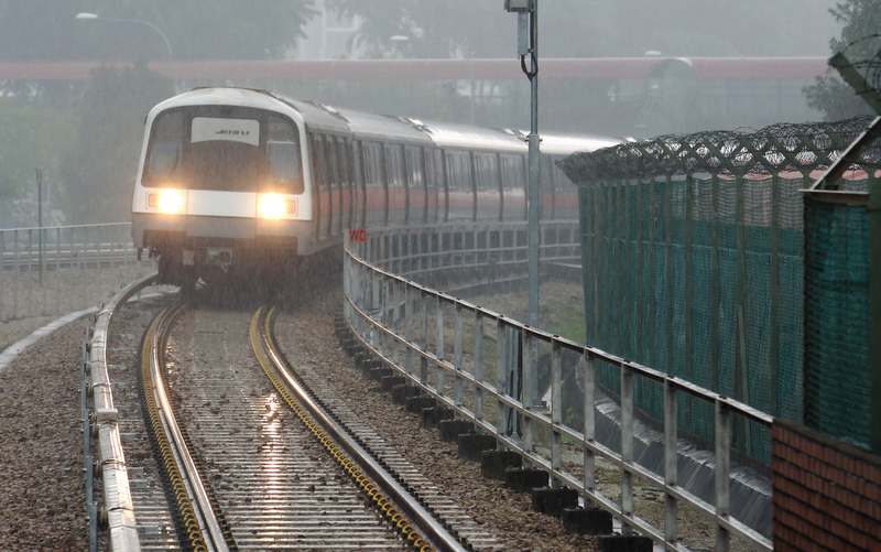 SMRT Train in the rain