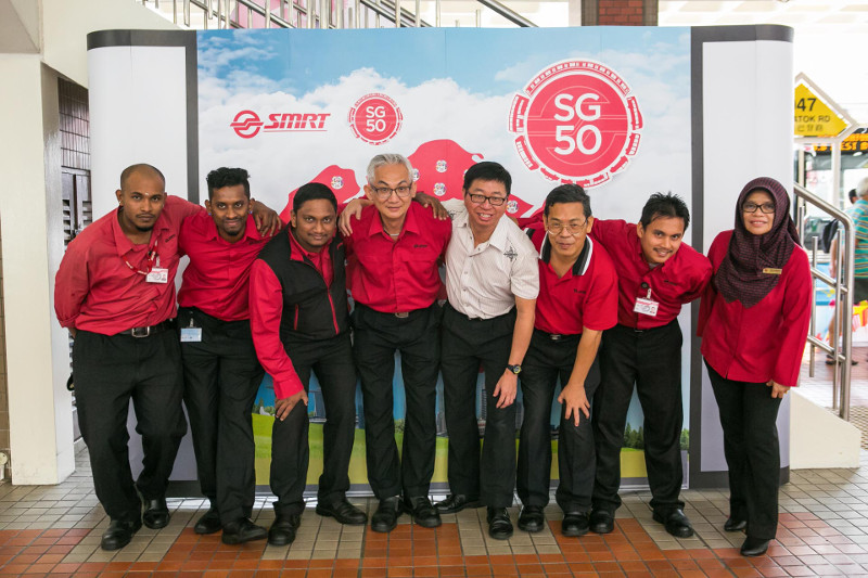 SMRT staff with SG50 photowall at Bukit Batok Int