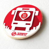SMRT SG50 Red and White Bus Button