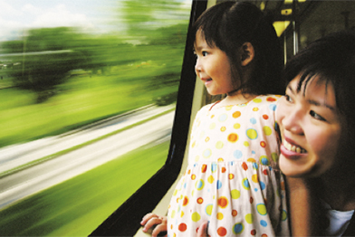 mother and baby on SMRT train
